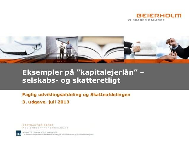 """Eksempler på """"kapitalejerlån"""" (3. udgave)"""
