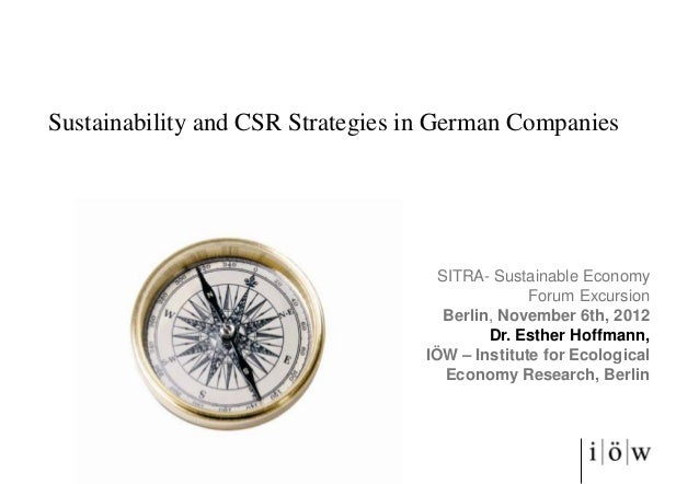 Sustainability and CSR Strategies in German Companies                                     SITRA- Sustainable Economy      ...