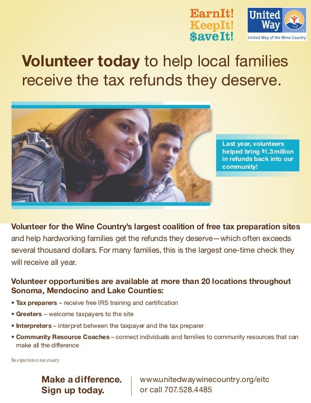 ® Volunteer today to help local families receive the tax refunds they deserve. Volunteer for the Wine Country's largest co...
