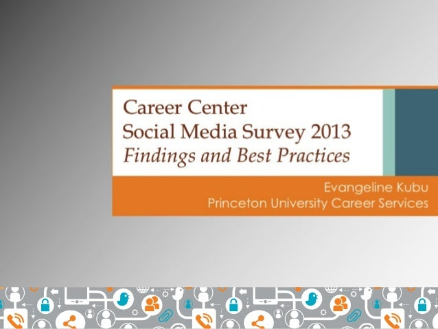 Presented at NACE Conference 2014: Nationwide Career Center Social Media Survey 2013: Findings and Best Practices by Eva Kubu, Princeton University