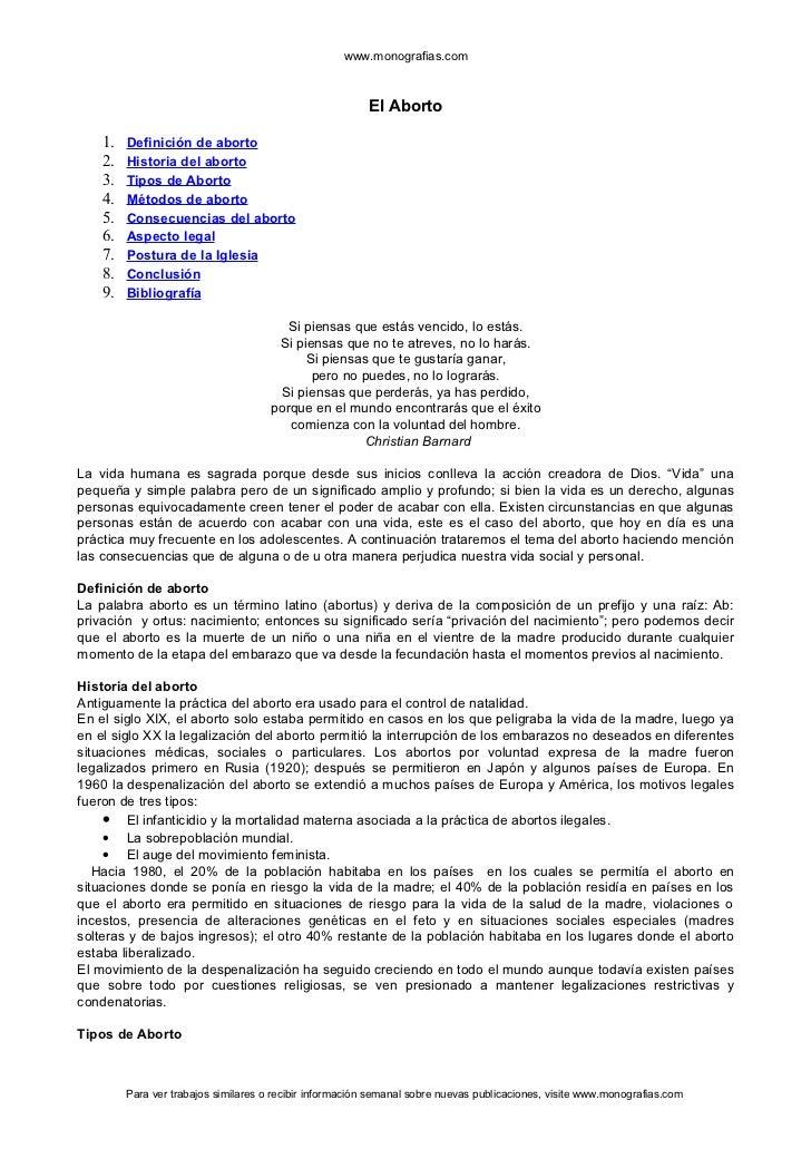 www.monografias.com                                                         El Aborto    1.   Definición de aborto    2.  ...