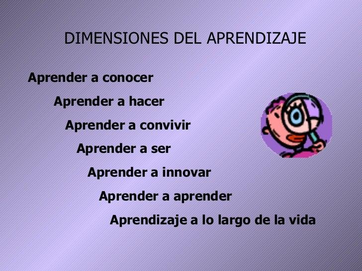 DIMENSIONES DEL APRENDIZAJE Aprender a conocer Aprender a hacer Aprender a convivir Aprender a ser Aprender a innovar Apre...