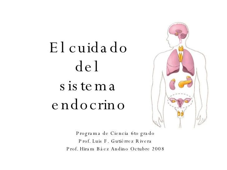El cuidado del  sistema endocrino Programa de Ciencia 6to grado Prof. Luis F. Gutiérrez Rivera Prof. Hiram Báez Andino Oct...