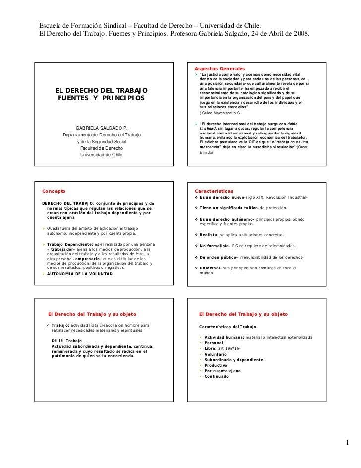Escuela de Formación Sindical – Facultad de Derecho – Universidad de Chile. El Derecho del Trabajo. Fuentes y Principios. ...