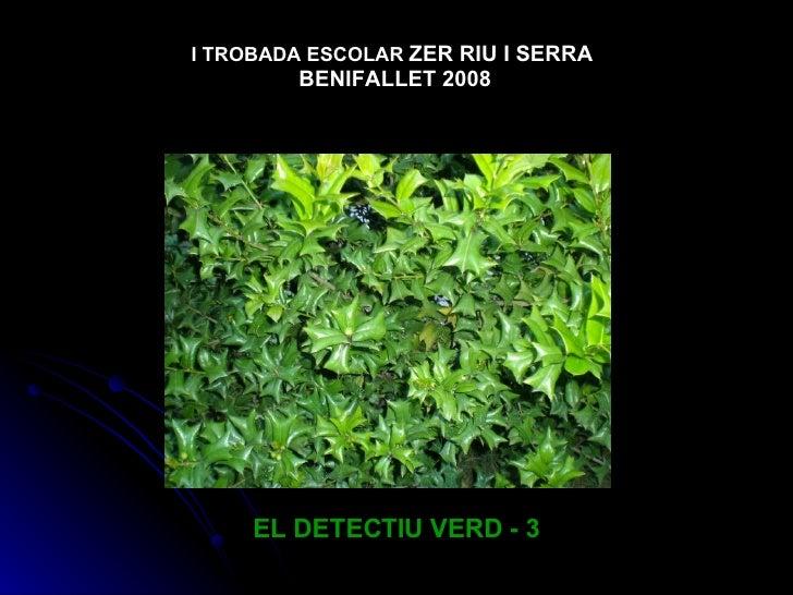 EL DETECTIU VERD - 3 I TROBADA ESCOLAR   ZER RIU I SERRA  BENIFALLET 2008