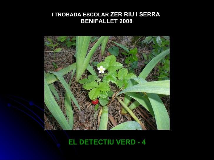 EL DETECTIU VERD - 4 I TROBADA ESCOLAR   ZER RIU I SERRA  BENIFALLET 2008