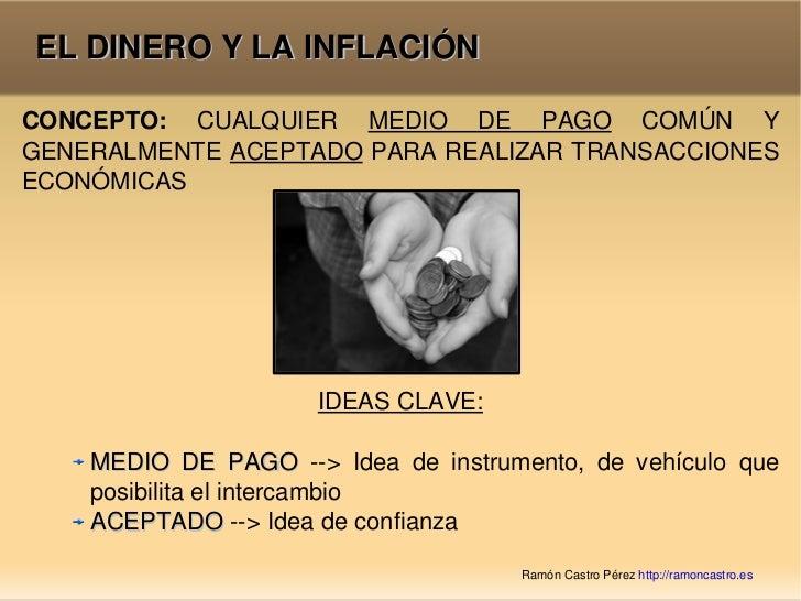 EL DINERO Y LA INFLACIÓN <ul><li>IDEAS CLAVE: </li></ul><ul><ul><ul><ul><li>MEDIO DE PAGO  --> Idea de instrumento, de veh...