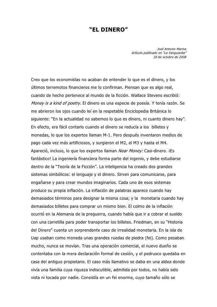 """""""EL DINERO""""                                                                          José Antonio Marina                  ..."""