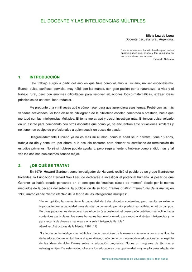 EL DOCENTE Y LAS INTELIGENCIAS MÚLTIPLES                                                                                  ...