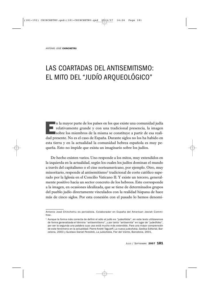 """ANTONIO JOSÉ CHINCHETRU     LAS COARTADAS DEL ANTISEMITISMO: EL MITO DEL """"JUDÍO ARQUEOLÓGICO""""     E        n la mayor part..."""