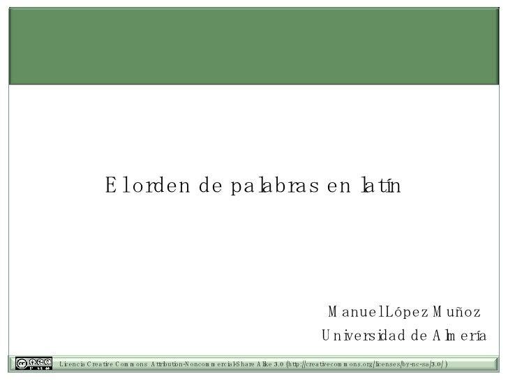 El orden de palabras en latín