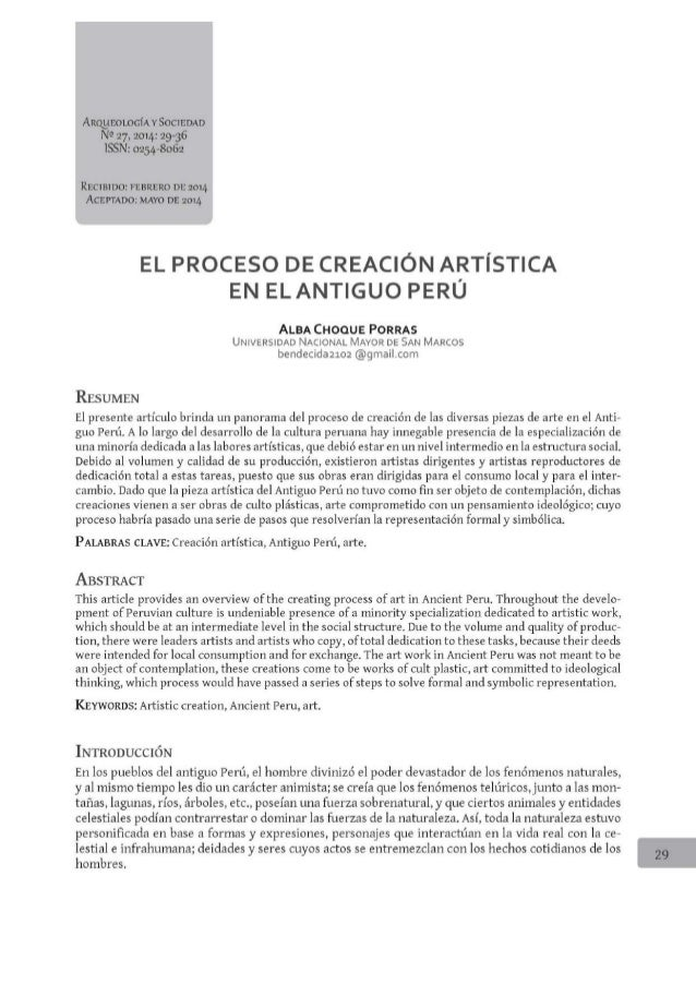ARQlEOLOCÍA v SOCIEDAD N 9 27, 2014: 29-36 ISSN:  0254-8062  RECIBIDOS FEBRERO DE 2014 ACEPTADOZ MAYO DE 20l4  EL PROCESO ...
