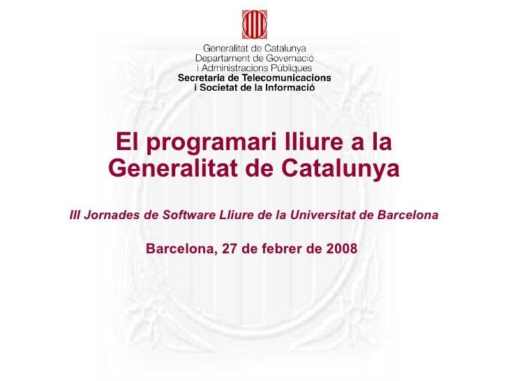 El programari lliure a la Generalitat de Catalunya
