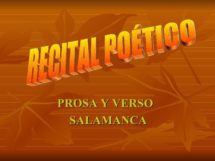 PROSA Y VERSO  SALAMANCA RECITAL POÉTICO
