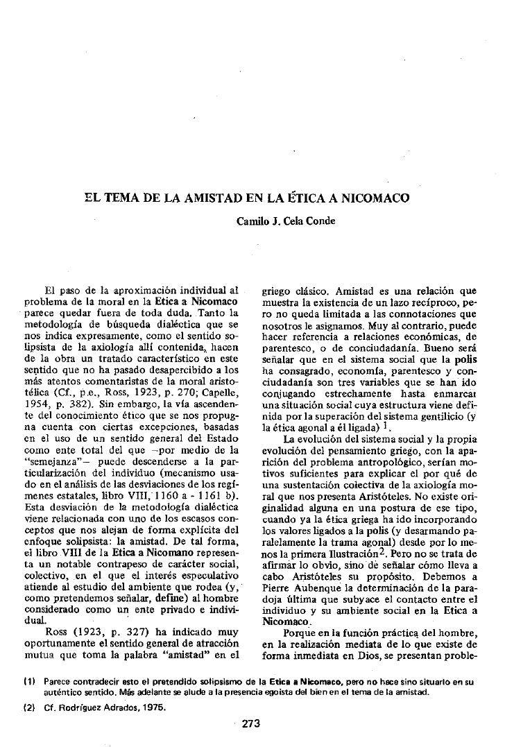 EL TEMA DE LA AMISTAD EN LA ÉTICA A NICOMACO                                                    Camilo J. Cela Conde     E...