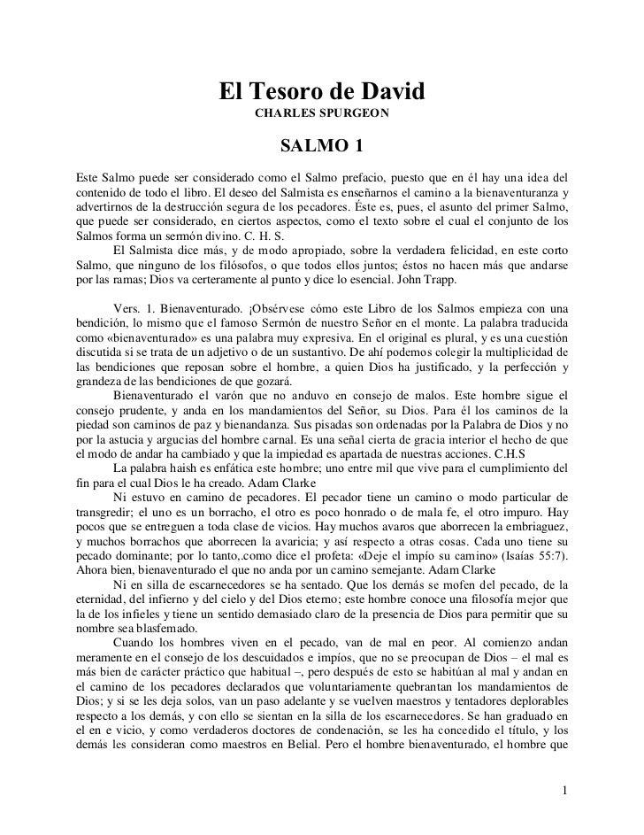 El Tesoro de David                                   CHARLES SPURGEON                                         SALMO 1Este ...