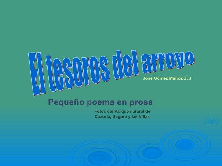 José Gómez Muñoz S. J. Pequeño poema en prosa El tesoros del arroyo Fotos del Parque natural de Cazorla, Segura y las Villas