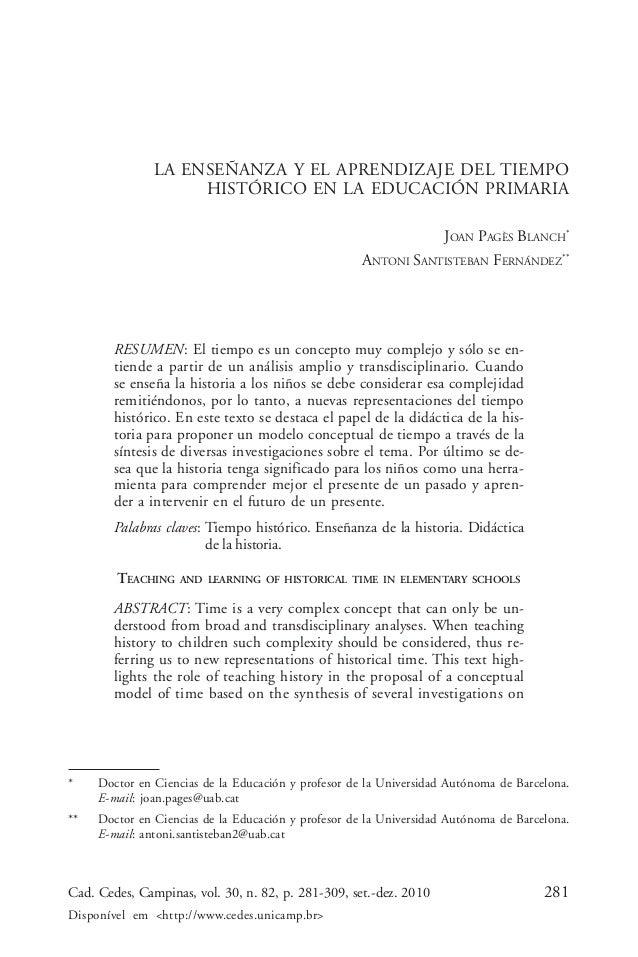 Joan Pagès Blanch & Antoni Santisteban Fernández               LA ENSEÑANZA Y EL APRENDIZAJE DEL TIEMPO                   ...