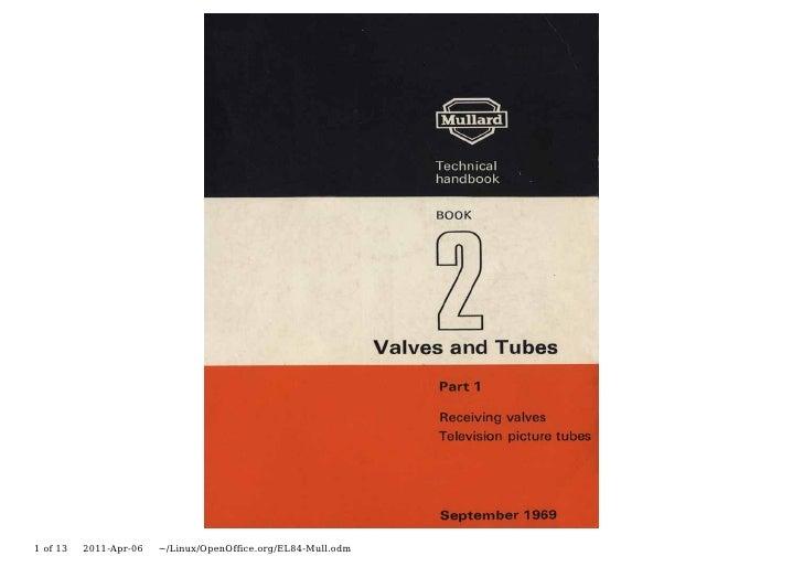 Valve & Amplifier Design, EL84 (N709, 6BQ5) Data, Mullard Valves