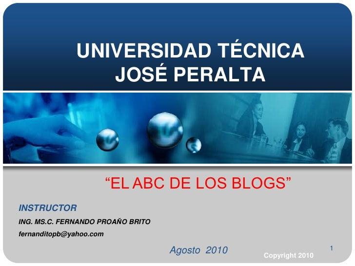 El ABC de Los Blogs  Universidad Jose Peralta