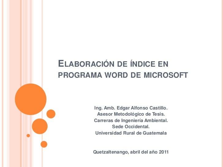 Elaboración de índice en programa word de microsoft