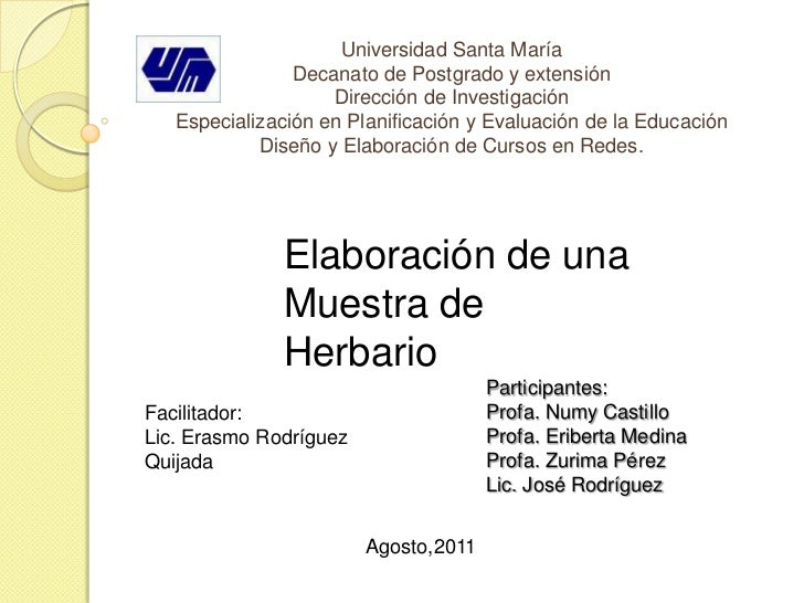 Universidad Santa MaríaDecanato de Postgrado y extensión Dirección de InvestigaciónEspecialización en Planificación y Eval...