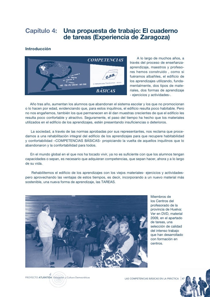 Capítulo 4:                   Una propuesta de trabajo: El cuaderno                              de tareas (Experiencia de...