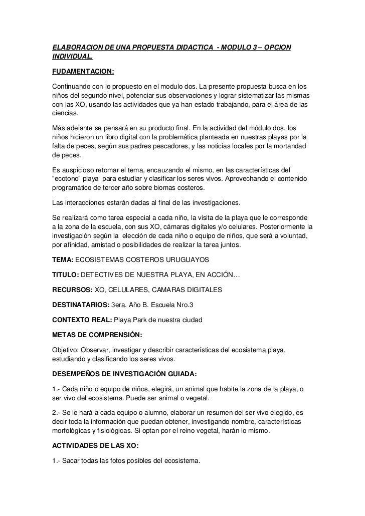 Elaboracion de una propuesta didactica modulo tres. ciencias naturales