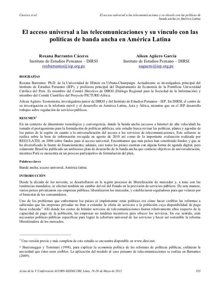 El acceso universal a las telecomunicaciones y su vinculo con las politicas de acceso universal en america latina