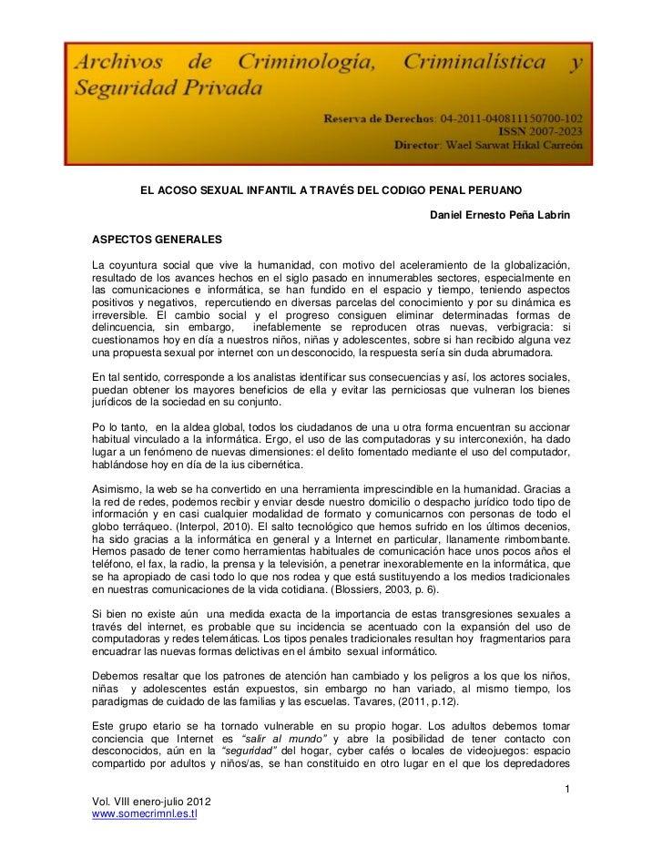 EL ACOSO SEXUAL INFANTIL A TRAVÉS DEL CODIGO PENAL PERUANO                                                                ...