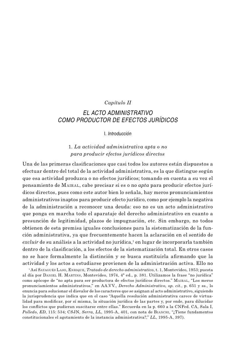 Capítulo II                         EL ACTO ADMINISTRATIVO                  COMO PRODUCTOR DE EFECTOS JURÍDICOS           ...
