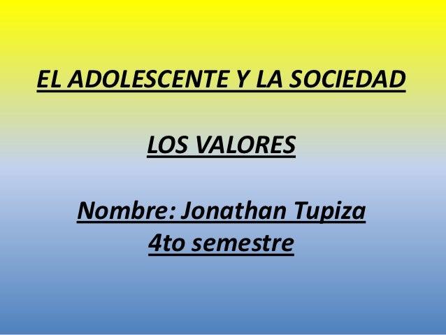 EL ADOLESCENTE Y LA SOCIEDAD        LOS VALORES   Nombre: Jonathan Tupiza       4to semestre