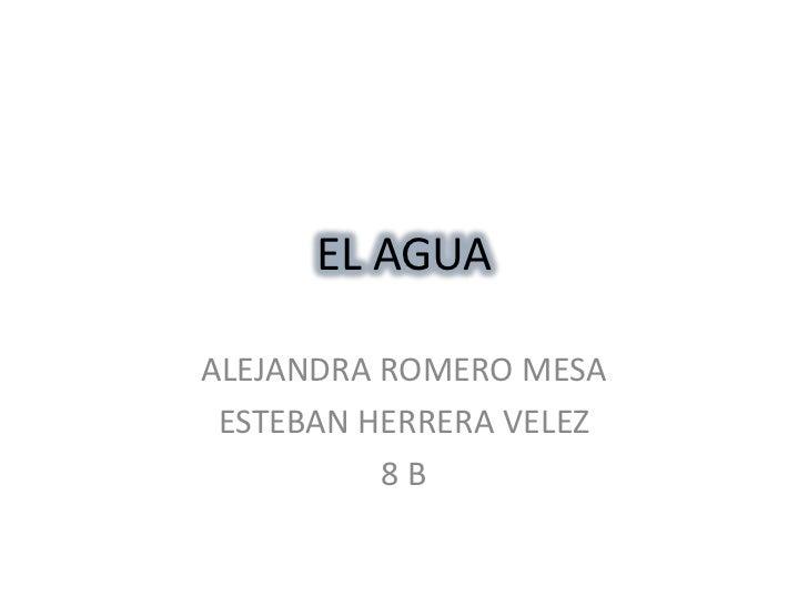 EL AGUA <br />ALEJANDRA ROMERO MESA<br />ESTEBAN HERRERA VELEZ<br />8 B<br />