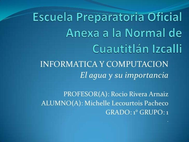 INFORMATICA Y COMPUTACION       El agua y su importancia     PROFESOR(A): Rocio Rivera ArnaizALUMNO(A): Michelle Lecourtoi...