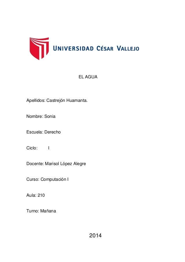 EL AGUA Apellidos: Castrejón Huamanta. Nombre: Sonia Escuela: Derecho Ciclo: I Docente: Marisol López Alegre Curso: Comput...