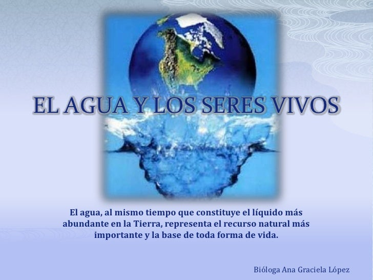 EL AGUA Y LOS SERES VIVOS<br />El agua, al mismo tiempo que constituye el líquido más<br />abundante en la Tierra, represe...