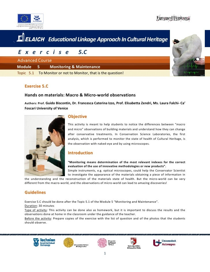 Educational Linkage Approach In Cultural HeritageE x e r c i s e                         5.CAdvanced CourseModule      5  ...