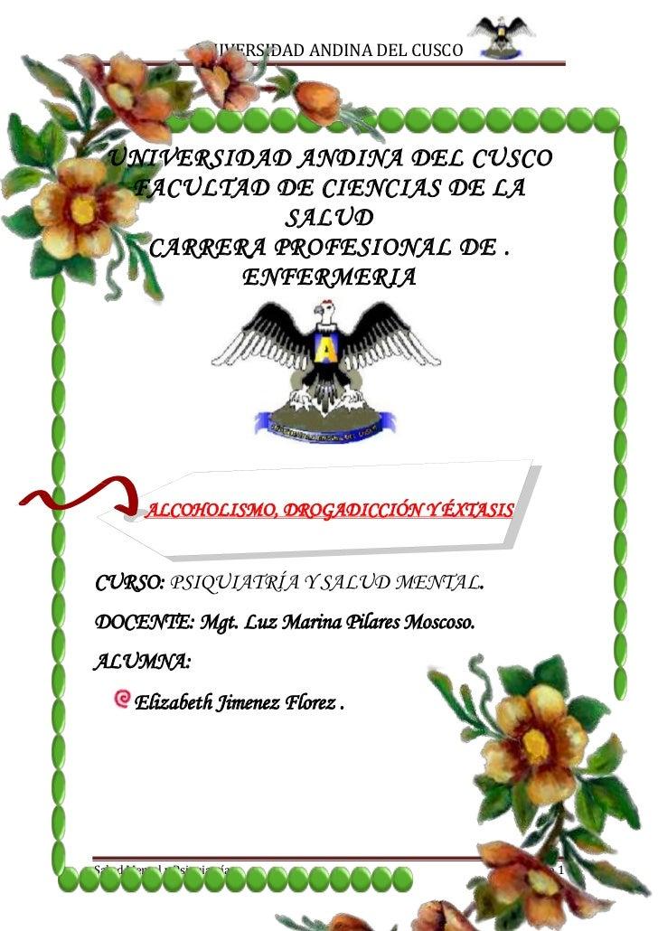 UNIVERSIDAD ANDINA DEL CUSCO  UNIVERSIDAD ANDINA DEL CUSCO   FACULTAD DE CIENCIAS DE LA             SALUD    CARRERA PROFE...