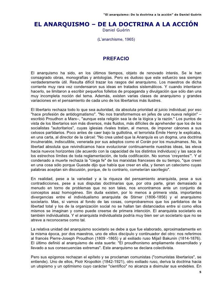 """""""El anarquismo: De la doctrina a la acción"""" de Daniel Guérin    EL ANARQUISMO – DE LA DOCTRINA A LA ACCIÓN                ..."""