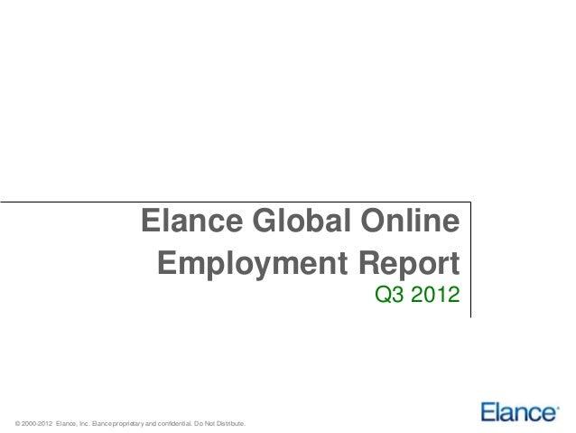 Elance Global Online                                            Employment Report                                         ...