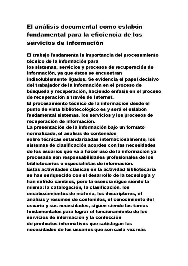 El análisis documental como eslabón fundamental para la eficiencia de los servicios de información
