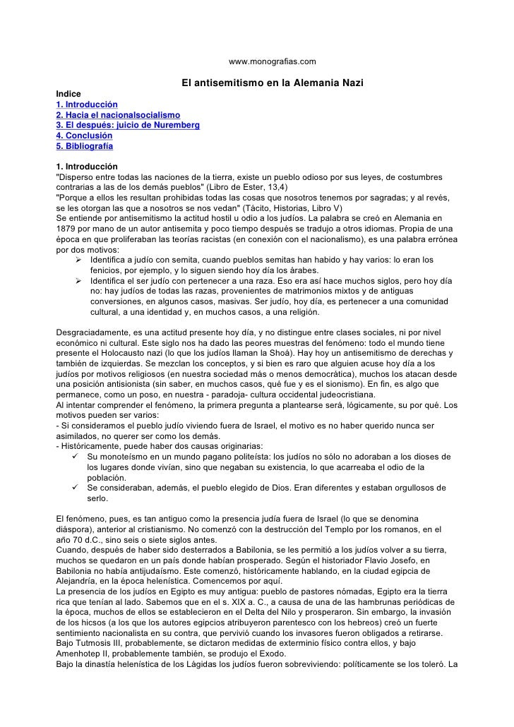 www.monografias.com                                   El antisemitismo en la Alemania Nazi Indice 1. Introducción 2. Hacia...