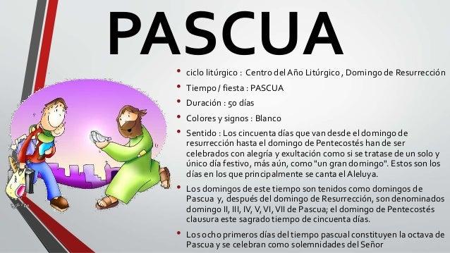 PASCUA• ciclo litúrgico : Centro del Año Litúrgico , Domingo de Resurrección • Tiempo / fiesta : PASCUA • Duración : 50 dí...