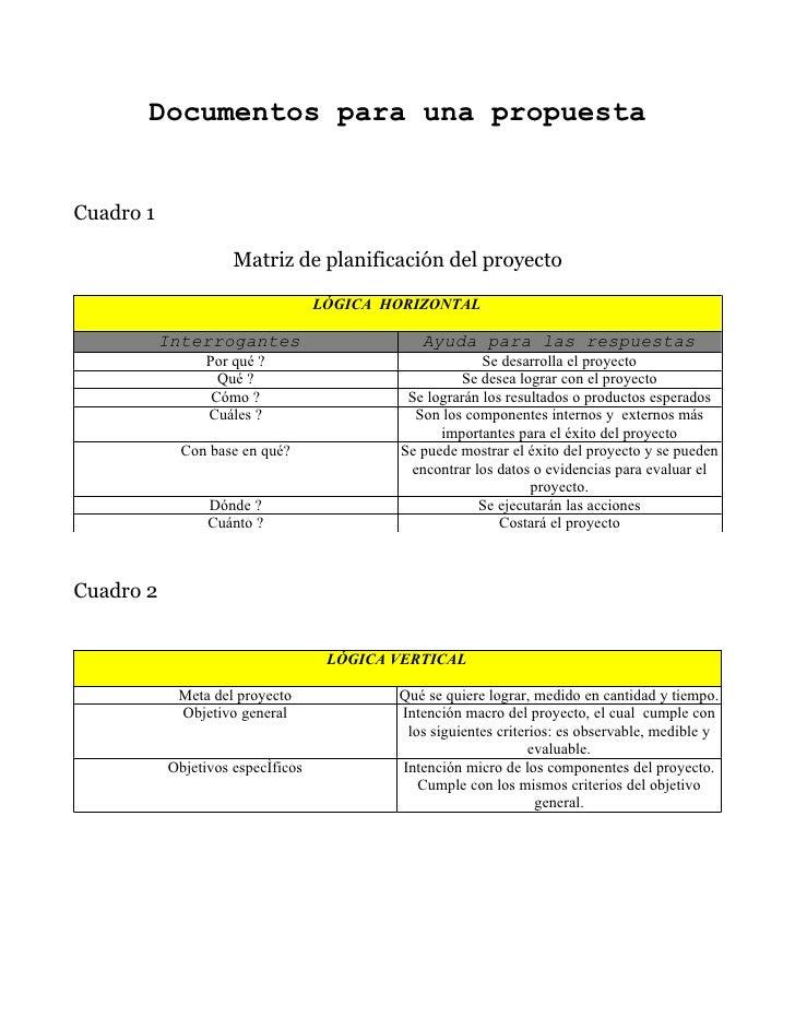 Documentos para una propuesta   Cuadro 1                       Matriz de planificación del proyecto                       ...