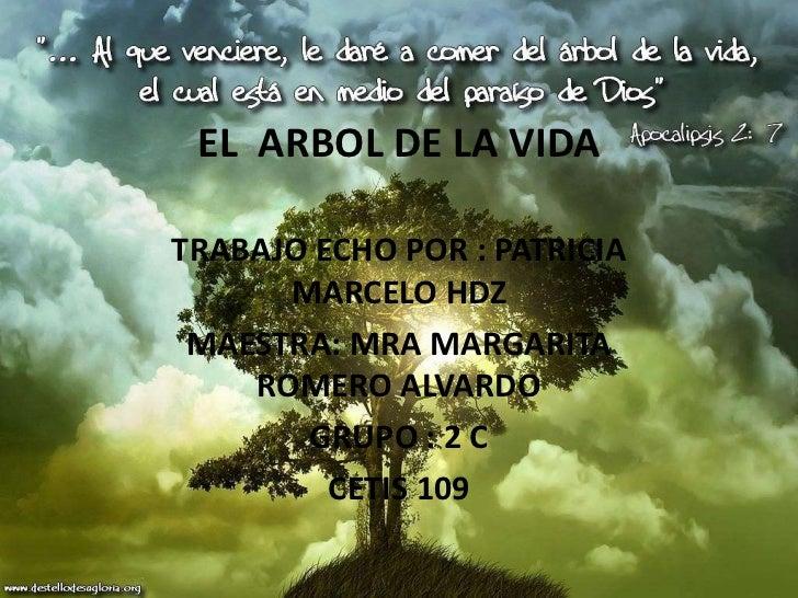EL ARBOL DE LA VIDATRABAJO ECHO POR : PATRICIA      MARCELO HDZ MAESTRA: MRA MARGARITA    ROMERO ALVARDO       GRUPO : 2 C...