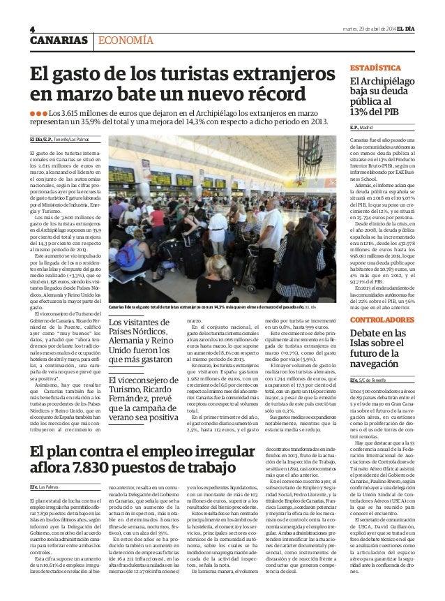 CANARIAS martes, 29 de abril de 2014 EL DÍA4 ECONOMÍA ESTADÍSTICA El Archipiélago baja su deuda pública al 13% del PIB E.P...