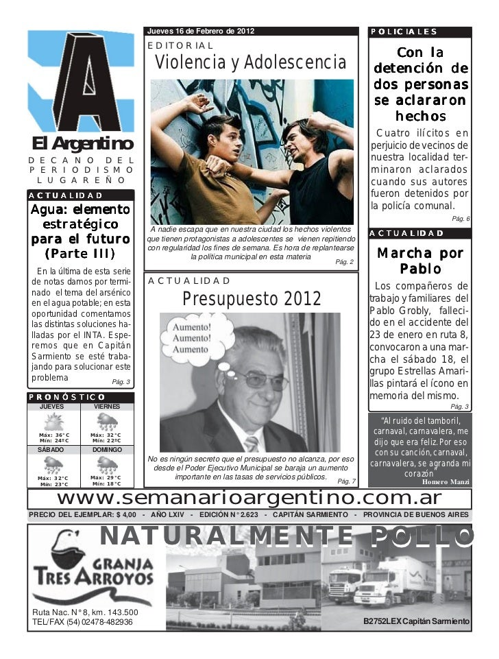 Jueves 16 de Febrero de 2012                                    POLICIALES                                EDITORIAL       ...