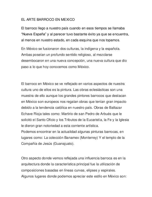 """EL ARTE BARROCO EN MEXICOEl barroco llego a nuestro país cuando en esos tiempos se llamaba""""Nueva España"""" y al parecer tuvo..."""