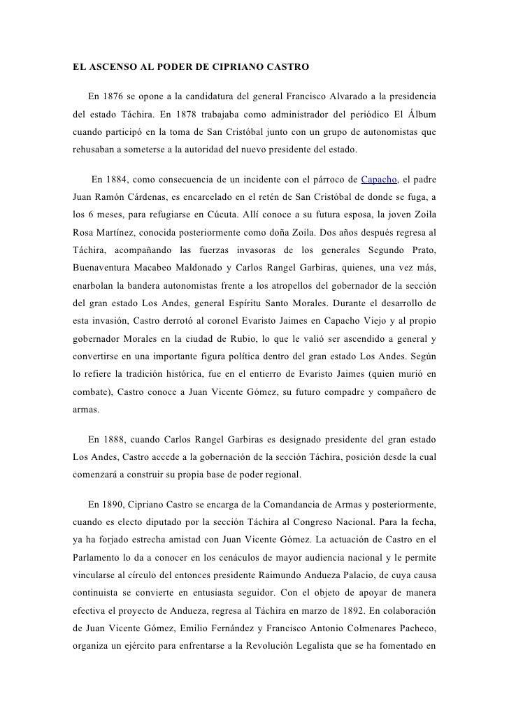 EL ASCENSO AL PODER DE CIPRIANO CASTRO   En 1876 se opone a la candidatura del general Francisco Alvarado a la presidencia...