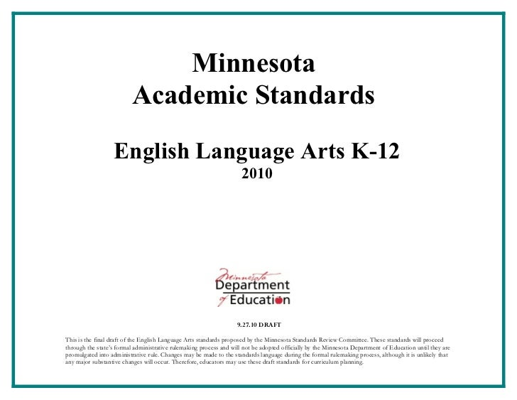 2010 MN English Language Arts Standards